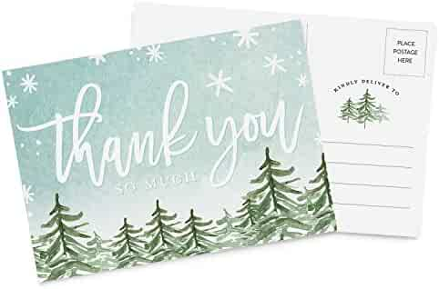 50 4x6 Thank You Christmas Holiday Postcards Bulk Set, Thank You Note Card Stationery for Holiday Gifts, Party