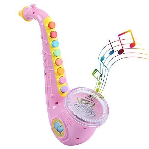 Kids Saxophone - Wind Instrument Preschool Musical Toy with Light & Sound (Pink)