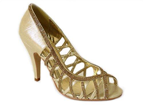 227 SKO'S Escarpins Gold FEE11016 pour femme qYaxXq