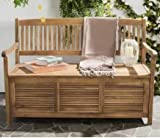 Garden Bench, Patio Storage - Acacia Wood, Teak Brown