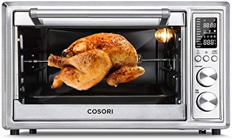 COSORI CO130-AO Air Fryer Toaster Oven Combo 12-in-1 Countertop Rotisserie & Dehydrator for Chicken, Pizza and Cookies, 100 Recipes & 6 Accessories Included, 30L/31.7 QT, Silver
