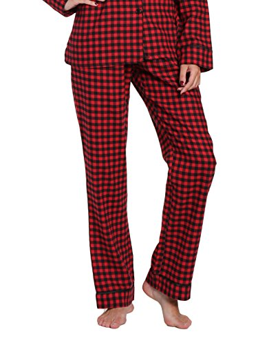 Women's Premium Flannel Lounge Pant - Gingham Red-Black - Medium