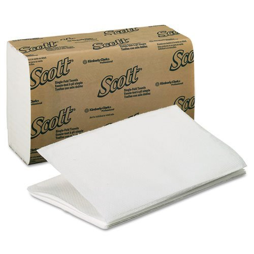 KIMBERLY-CLARK PROFESSIONAL* SCOTT 1-Fold Paper Towels, 9 3/10 x 10 1/2, White - Includes 16 packs of 250 each. by Kimberly-Clark Professional