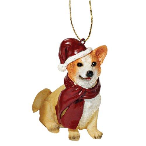 Design Toscano Welsh Corgi Holiday Dog Ornament Sculpture, F