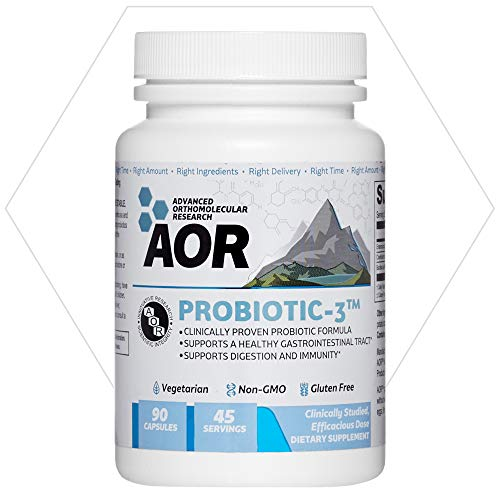 AOR, Probiotic 3, Digestive Aid for a Healthy Gastrointestinal Tract, Gut Flora and Immune Response, Dietary Supplement, 45 servings (90 capsules) ()
