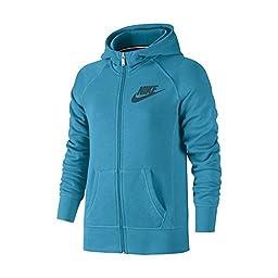 Nike YA76 Fleece Full-Zip Hoodie Sweatshirt Girls Large Blue Lagoon/Teal