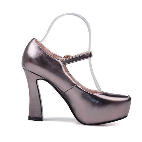 e1d95ec1b74e2 ... AllhqFashion Damen Rein Blend-Materialien Hoher Absatz Schnalle Rund  Zehe Pumps Schuhe Grau ...
