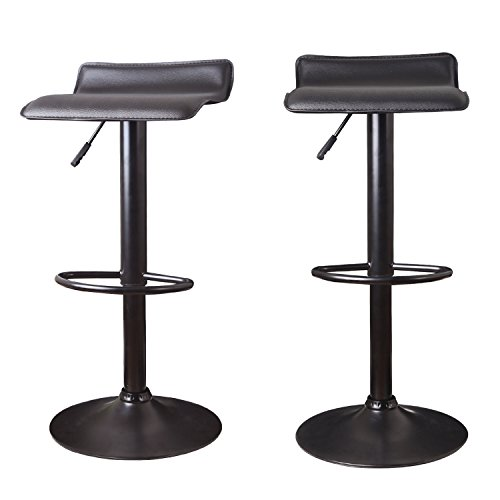 Joveco 360 Degree Adjustable Backless Swivel Airlift Stool with black base - Set of 2 black bar stools - Backless Chrome Swivel Bar Stool