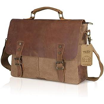 Amazon.com: Satchel Messenger Bag for men Vintage Real Leather ...