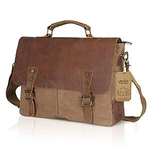 Amazon.com: Lifewit 15.6 inch Leather Laptop Messenger Satchel Bag ...