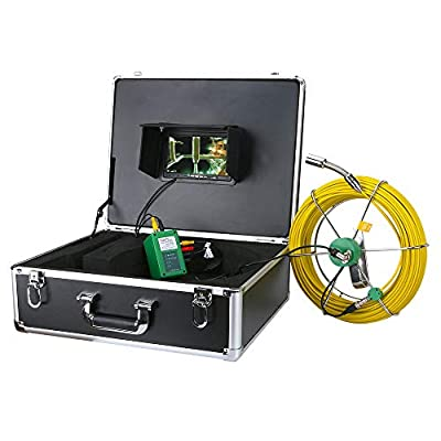 AMOCAM Pipe Pipeline Inspection Camera, 40M/132ft Snake Drain Pipe & Wall Sewer Industrial Endoscope System with 7 Inch LCD Monitor 1000TVL IP68 Waterproof Video Borescope Inspection Camera