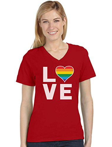 Gay Love - Rainbow Heart Gay Pride Awareness Women's Fitted V-Neck T-Shirt X-Large -