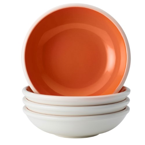 Rachael Ray Dinnerware Rise Collection 4-Piece Stoneware Fruit Bowl Set, Orange