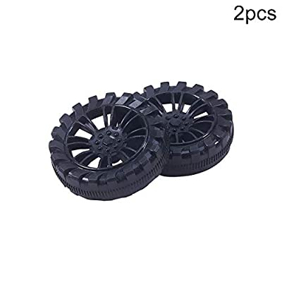 MroMax 40mm Rubber Toy Car Wheel Tires DIY Model Robots 2pcs High wear Resistance Black: Toys & Games