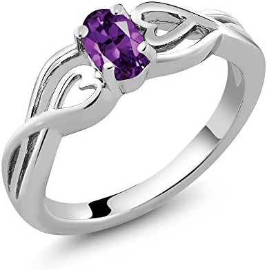 Sterling Silver Genuine Oval Purple Amethyst Gemstone Birthstone Women's Ring (0.45 cttw, Available in size 5, 6, 7, 8, 9)