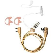 Lsgoodcare 2-Pin Acoustic Tube Earpiece Headset Earphone PTT Mic For Kenwood TK 260 TK 250 Baofeng UV-5R BF-888s Two Way Radio Walkie Talkie, Beige+One Pair Pink Replacement Medium Earmold Earbud
