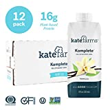 Kate Farms Komplete Vanilla Meal Replacement Shake, Gluten-Free, Nut-Free, Dairy-Free Drink, Essential Vitamins, Organic Plant-Based Protein Ready-to-Drink, 11 Fluid Ounces (Case of 12)