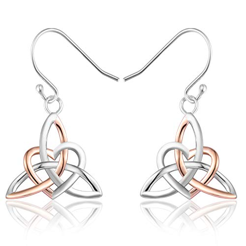 MONBO Celtic Knot Earrings Irish Triquetra Trinity Heart Hook Earrings for Women Girls (Womens Charm Celtic)