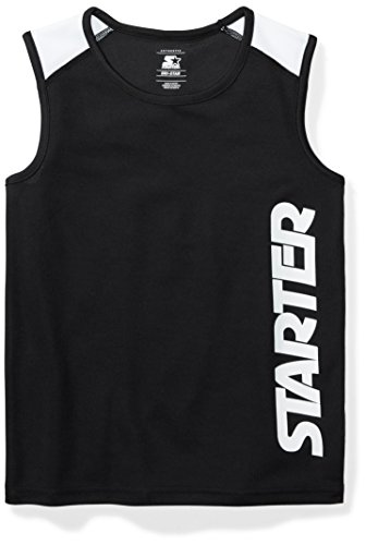 Starter Boys' Sleeveless Logo Tech T-Shirt, Amazon Exclusive, Black, L (12/14) (Shirt Tech Sleeveless)