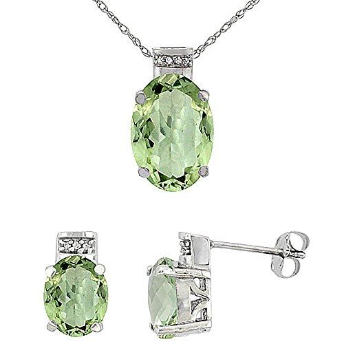 Or blanc 9carats Diamant de boucles d'oreilles et pendentif améthyste naturelle ovale vert accents