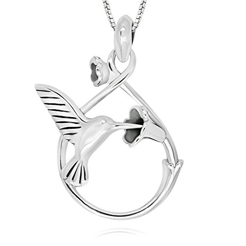 925 Sterling Silver Hummingbird with 3D Flower Pendant Necklace 18