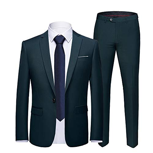 YIMANIE Men's Suit Slim Fit One Button 2 Piece Suit Tuxedo Business Wedding Party Casual (M, Dark Green) ()