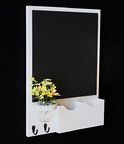 legacy studio dcor chalkboard mail organizer with key hooks mason jar smooth white - Chalkboard Decor