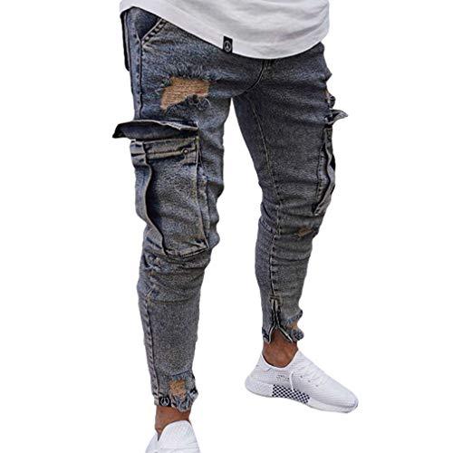 Jeans Uomo Equitazione S Strappati Fit Scuro Skinny Con Da Elasticizzati Blu Slim Zip 4xl Denim Denudati Pantaloni qE5ptt