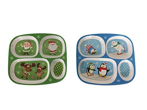 Set of (2) Melamine Divided Kids Trays - Christmas/winter