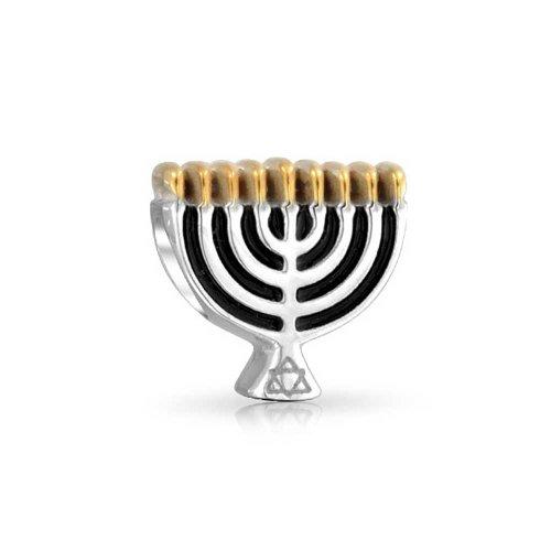 Tri-Toned Gold Plated Hanukkah Chanukah Menorah Bead Charm .925 Sterling Silver