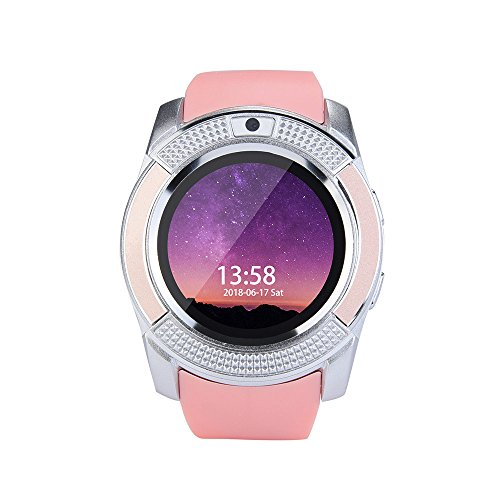 LONGZUYS Kids Phone Smart Wrist Watch , BT3.0 Digital Watch Bracelet SMS Bluetooth Remote Camera for iOS Android Smart Phone (Pink)