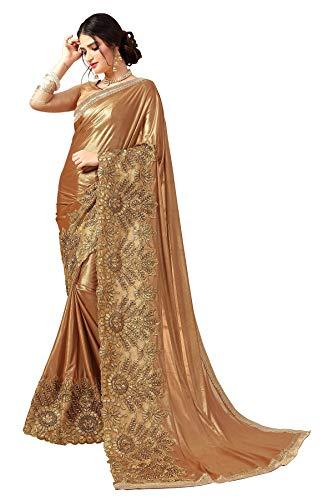 Pakistani Fashion Designers - Riva Fashion Indian/Pakistani Ethnic Designer Embroidery Work Party Wedding Saree & Un Stitch Blouse. (Golden)