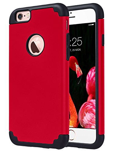 iPhone 6S Case,iPhone 6 Case, ULAK Slim Dual Layer Soft Silicone & Hard Back Cover Bumper Protective Shock-Absorption & Skid-proof Anti-Scratch Hybrid Case for Apple iPhone 6 / 6S 4.7 inch-Red/Black