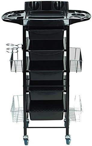 サロントロリーローリングカート ハイエンドの美容サロンツールトロリー髪染め車のブラック6階建てのビッグホイール スタイリスト美容院 (Color : Black, Size : 64x35x101cm)