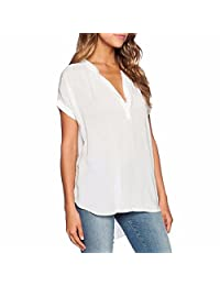 Women Solid Loose Chiffon Shirt Short Sleeves Blouse V Neck Tops Shirt Plus Size