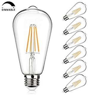 Vintage LED Edison Bulb 100W Equivalent 1050 Lumens, Dimmable 10W ST64 LED Filament Light Bulbs, Warm White 2700K Antique Style Lighting, E26 Medium Screw Base, Pack of 6