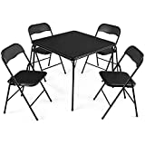 Giantex 5-Piece Folding Table and Chairs Set Multi-Purpose Kitchen Dining Games Table Set 1 Table 4 Chairs w/Padded Seat, Black