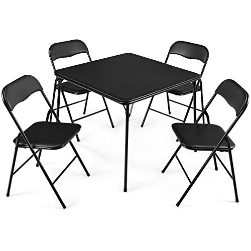 - Giantex 5-Piece Folding Table and Chairs Set Multi-Purpose Kitchen Dining Games Table Set 1 Table 4 Chairs w/Padded Seat, Table Size 33