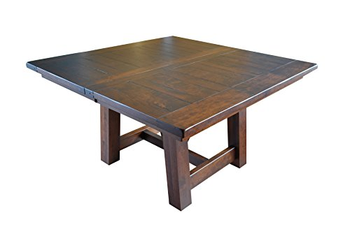 Hawthorne Rustic Farmhouse Square Table, Extendable, 3 leaves, Solid Rough Sawn Rustic Cherry Wood, Barnfloor Plank Top, Amish American (Amish Cherry Desk)