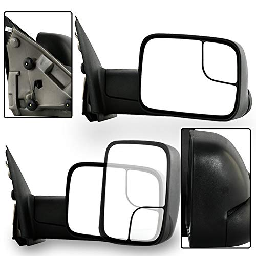 (Make Auto Parts Manufacturing Right/Passenger Side Towing Mirror Manual Operated Non-Heated Manual Folding Textured Black For Dodge Ram 1500, 2500, 3500 2002-2009 - CH1321227)