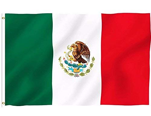 DFLIVE Mexico Country Flag 3x5 ft Printed Polyester Fly Mexico National Flag Banner with Brass Grommets