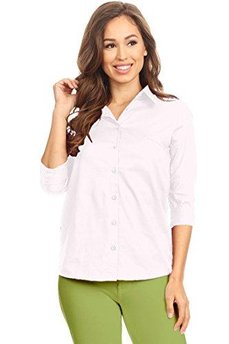 (Solid Casual Slim Stretch Poplin 3/4 Sleeve Blouse White XL)