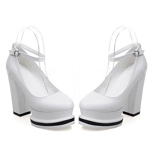 VogueZone009 Damen Weiches Material Rund Zehe Hoher Absatz Pumps Schuhe Weiß