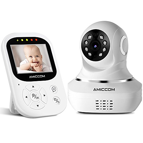 Baby Monitor - Video Baby Monitor with Camera - Night Vision Video Baby Camera with Two-Way Talk/ 2.4 inch HD Screen/Remote Pan& Tilt Camera/Temperature Monitoring