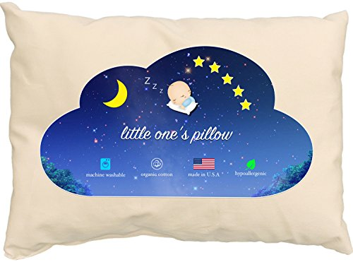 Childrens Pillow (Little One's Pillow - Toddler Pillow, Delicate Organic Cotton, Hand-Crafted in USA (13 in x 18)
