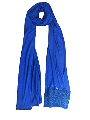 Kashkha Jersey Cotton Hijab Scarf with Lace Trim (Royal Bue)