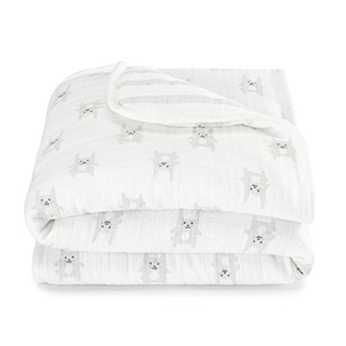aden by aden + anais flannel stroller blanket, bunny grey