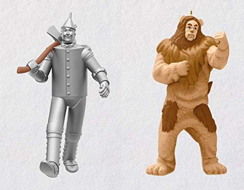 - 2018 Hallmark Wizard Of Oz Limited Edition Tin Man & Cowardly Lion Christmas Ornament Set of 2