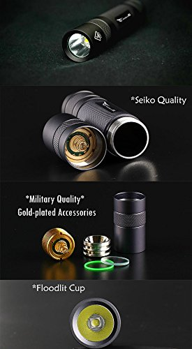 WISSBLUE X2 Military Grade Tactical Flashlight Rechargeable,6 Mode 1600 High Lumen Flashlight,Best 18650 Led Tactical Flashlight Black set by WISSBLUE (Image #4)