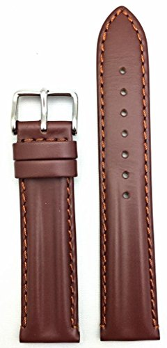 20mm Oily Brown Leather, Twin Padded Stylish Watch Band